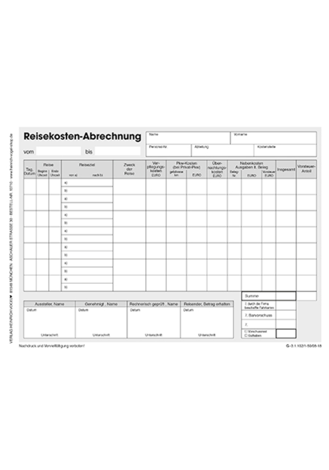 Excel Reisekostenabrechnung 5
