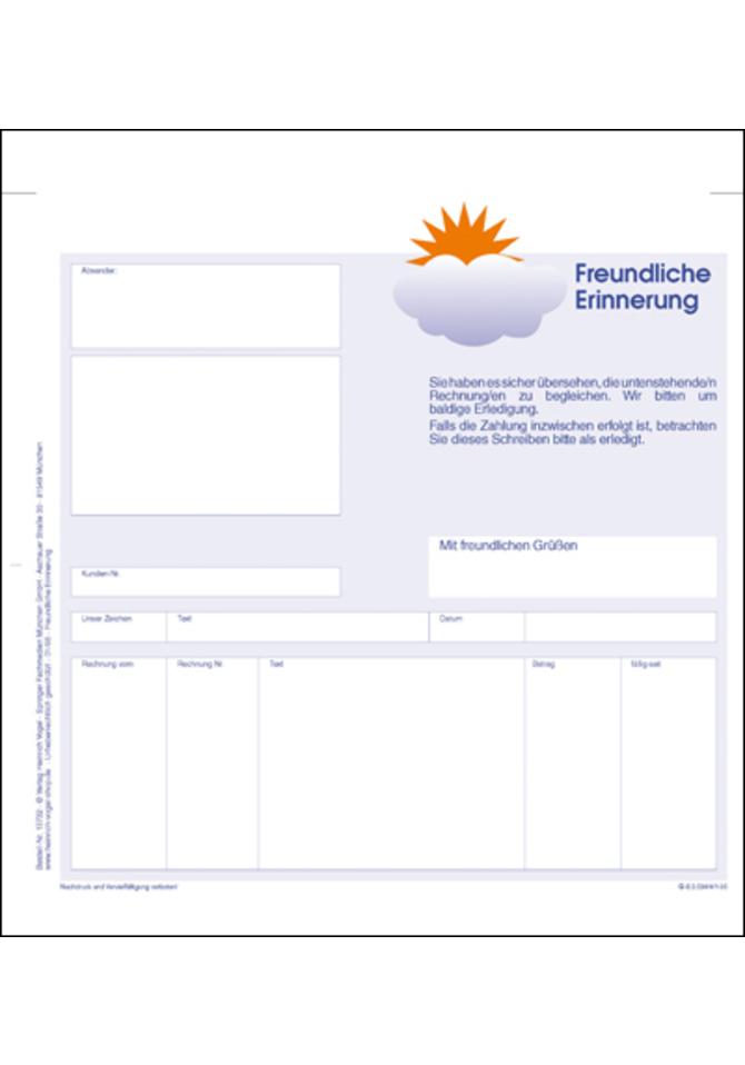 Mahnsatz Groß Online Kaufen Im Verlag Heinrich Vogel Shop