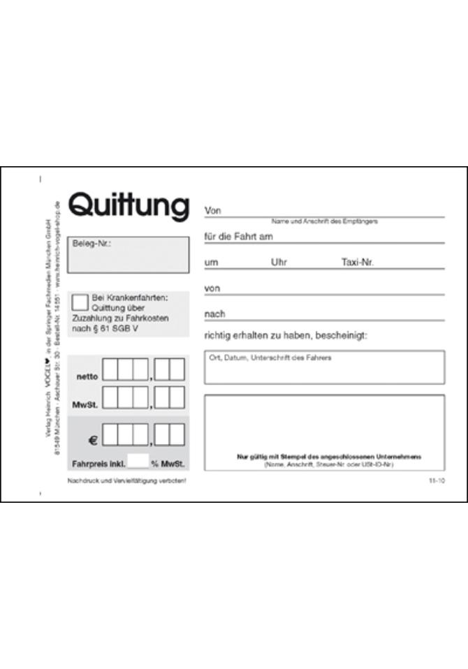 Quittungsblock Taxi Online Kaufen Im Verlag Heinrich Vogel Shop