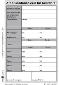 Taxi Schichtbericht Mit Arbeitszeitnachweis Online Kaufen Im Verlag Heinrich Vogel Shop